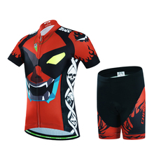 2017 Cool Boy/Girls Cycling Clothing Set Bicycle Jersey for Children Kids Short Sleeve MTB Bike Ropa Summer Black and Red New