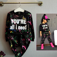 Fashion Baby Girl Clothes Set T-shirt+Loose Pants 2pc Stracksuit Sport Coloful Letter Printed Kid Clothes Suit  For 2-7years Old