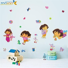 % dora decals cartoon wall stickers for kids room decorative sticker home decorations diy removable pvc comic Animal flower art