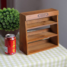 Vintage Retro Wooden Shelf Three Layer Wood Furniture Storage Cabinet Box Wall Storage Rack Postoral Style For Storage Sundries