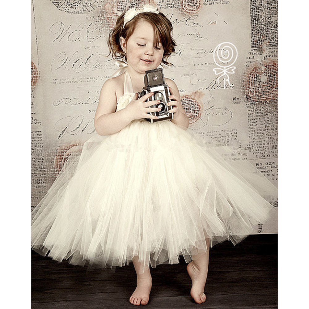 Princess Beige Flower Girls Dress Wedding Party Kids Dress for Girls Ankle Length Baby Girls Birthday Clothes Girls Tutu Dress<br>
