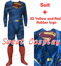 High Quality Superman Costume with 3D Yellow & Red rubber logo Spandex Lycra Suit Superman Halloween Cosplay Costume(China)