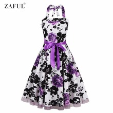 ZAFUL Brand Women Floral 60s Vintage Dress Plus Size S~4XL Belts Party Swing Feminino Vestidos Halter Sleeveless Lace Hem Dress