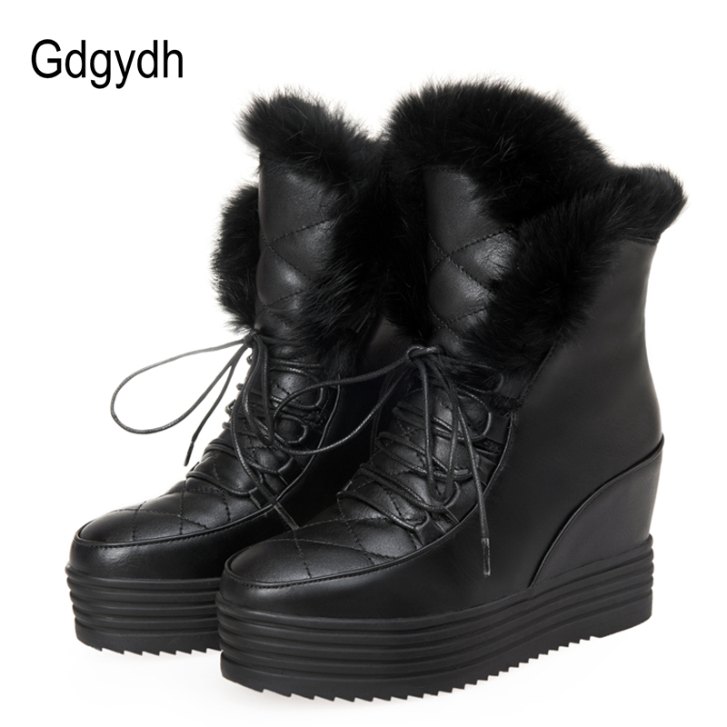 Gdgydh Fashion Fur Snow Boots Women Lacing 2017 New Winter Shoes Platform Warm Round Toe Height Increasing Ankle Boots Female<br>