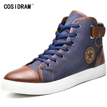 COSIDRAM Fashion High Top Men Shoes Canvas Men Casual Shoes For Autumn Winter Male Footwear Patchwork Plus Size 45 46 47 RMC-165(China)