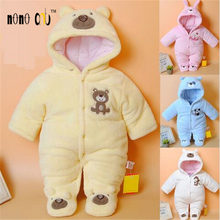 Fashion Cotton Thicken Winter Girls Boys Baby Rompers Hooded Newborn Overalls Coral Velvet Infant Jumpsuits Toddler Costumes