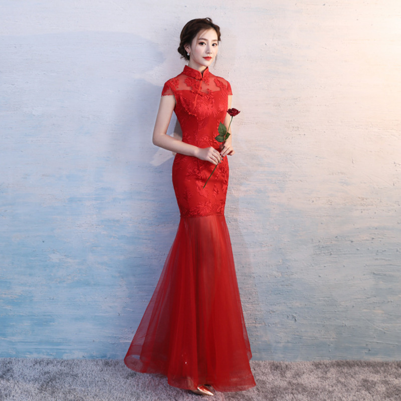 Red Long Wedding Party Dress Modern Cheongsam Sexy Oriental Style Dresses Retro Qipao Traditional Chinese Clothing For Women