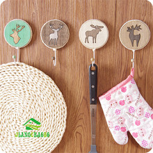 Wood Elk Strong Glue Stick Hook Creative Wall Hanging No Nail Trace Sticky Hook Wall Door Behind The Door Coat Hook(China)