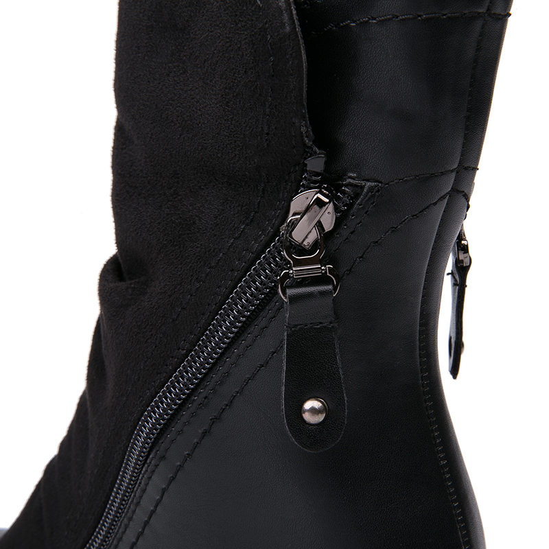 IMG_3795AIMEIGAO New Arrival High Heels boots Women Suede Leather Black Boots Double Zip Short Plush High Quality Women Shoes