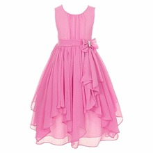 2017 Fashion Kids Flower Girls Dresses Teen Children Summer Chiffon Pageant Birthday Party Bridesmaid Ball Gown Formal Dresses(China)
