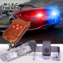 1Set DC 12V 2 LED Wireless Remote flash controller Car Truck Light Red and Blue  Flashing strobe led Warning light