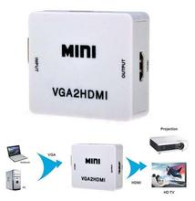 Dinto High Speed Mini VGA to HDMI Adapter Video Converter Case 1080P HD VGA2HDMI Box with USB Cable for Laptop PC HDTV DVD