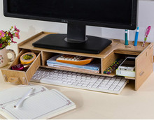Desktop Monitor Stand, Wooden Monitor Riser TV Stand, with Slots for Office Supplies and Storage Space for Keyboard and Mouse