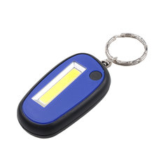 Flashlight Keychain Lamp COB LED Work Light 3-Mode Mini Lamp Key Chain Ring Torch Keyring With Battery Switch Button Control(China)