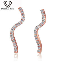 DOUBLE-RING Trendy Line Design 18K Rose Gold(Au750) Women Fine Jewelry 0.11ct Real Diamond Earring personalized Gift CASE01006