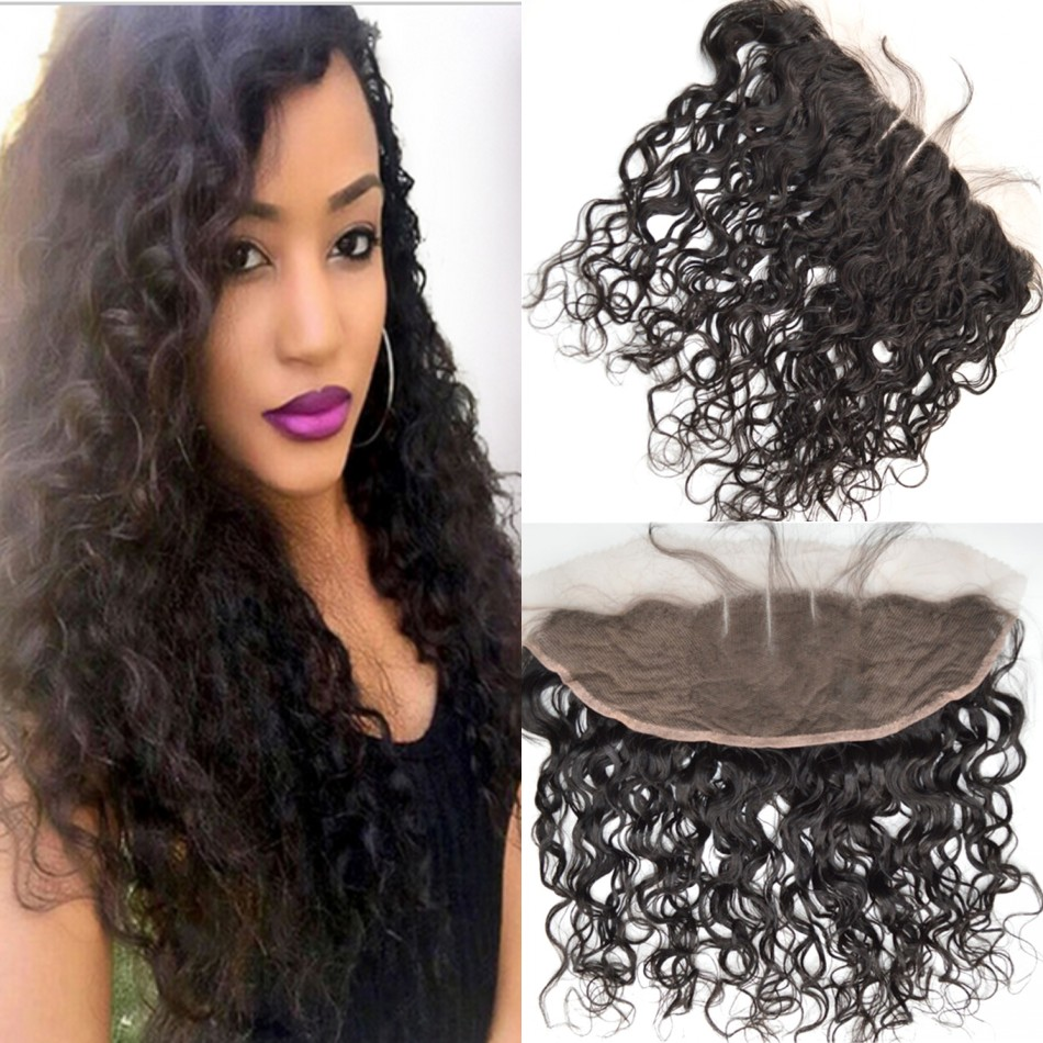 Natural Black Virgin Water Wave Lace Frontal Closure 13x4 Bleached Knots Indian Human Hair Wet And Wavy Frontal Closure<br><br>Aliexpress