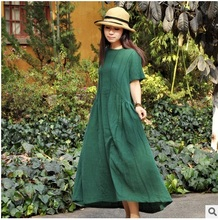 New products listed in the summer of 2016, 100% of the original design of high-end loose big yards of cotton linen women dress