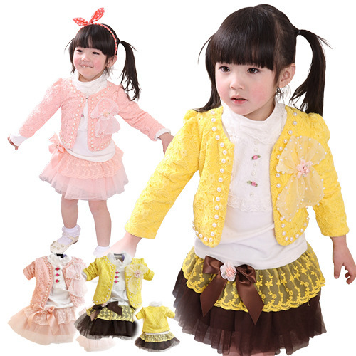 Anlencool Spring Roupas Infantil Meninas free Shipping Baby Clothes Girls Clothing Set Cotton Three-piece Pearl Girl Skirt Suit<br><br>Aliexpress