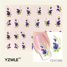YZWLE 1Pcs Purple Flower Design Water Sticker Nails Beauty Wraps Foil Polish Decals Temporary Tattoos Watermark For Nails Art