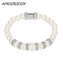 AMOURJOUX Perfect Round Pearl Simulated Charm Bracelets & Bangles With Clear CZ Female Clasp Bracelet Jewelry Woman Gift