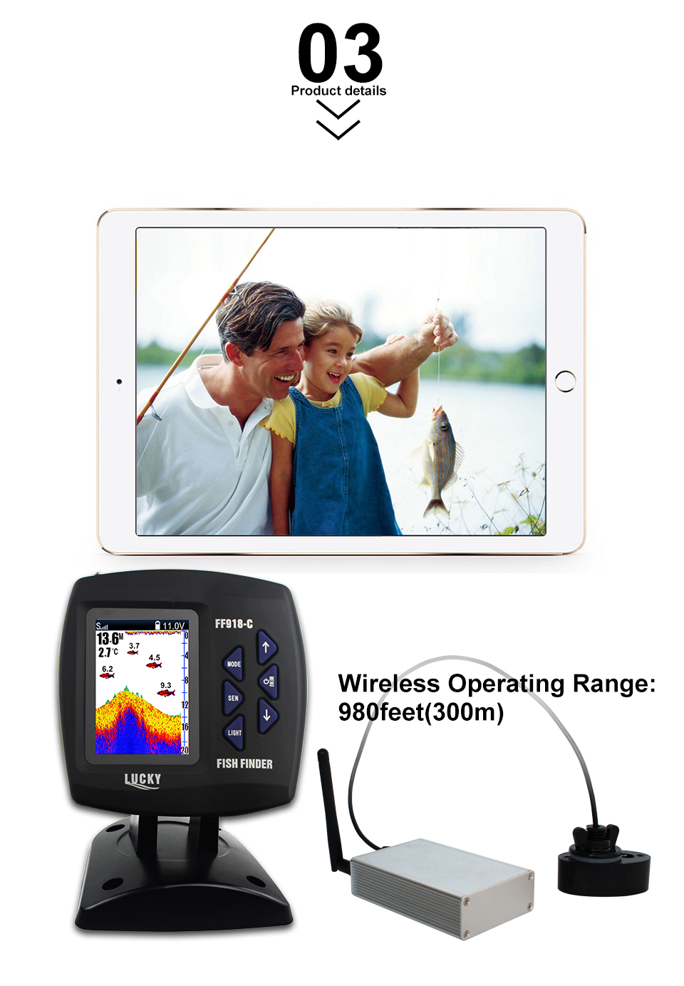 Fish Finder Lucky FF918-CWLS 3.5 LCD Boat Fish Finder wireless Underwater Detector Camera For fishing operating range 300m Depth Range 100M (4)