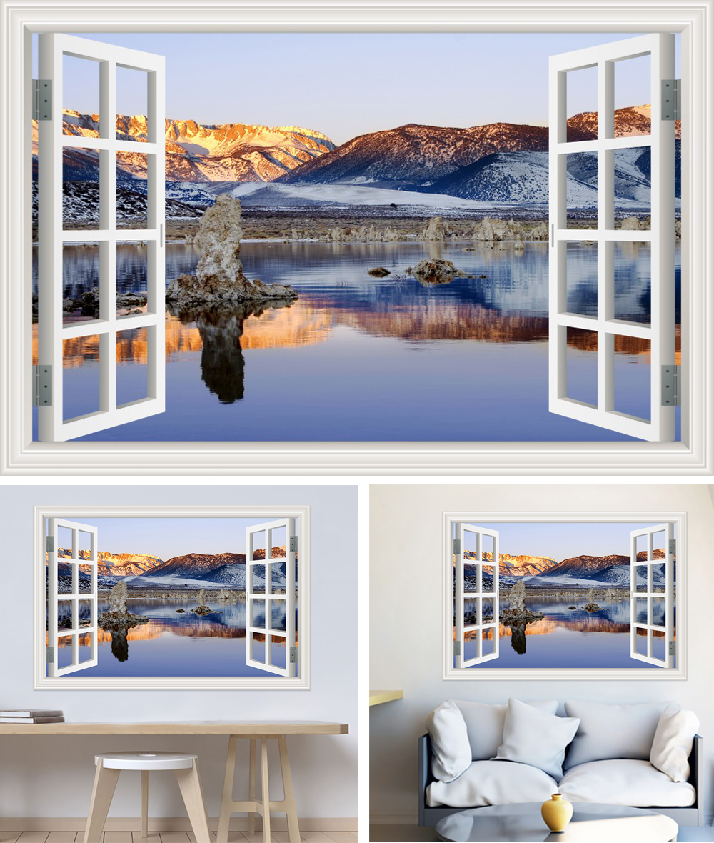 HTB1  SWcvQs8KJjSZFEq6A9RpXaX - Modern 3D Large Decal Landscape Wall Sticker Snow Mountain Lake Nature Window Frame View For Living Room