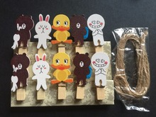 10pcs DIY wooden Clips garland Kids Cartoon Easter Wooden Pegs,Wooden peg photo/picture holders for Birthday Party Decorations