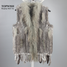 New Genuine Knitted Rabbit Fur Vest With Raccoon Fur Collar Real Rabbit Fur Gilet Winter Fur Waistcoat TFP781