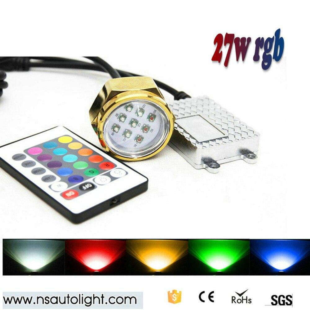 27W  Waterproof RGB LED Boat marine light Drain Plug Underwater Light for fishing/boating<br><br>Aliexpress