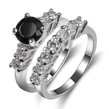 Hot Sale Exquisite Black Onyx 925 Sterling Silver High Quantity Engagement Wedding Ring Size 6 7 8 9 10 F1592