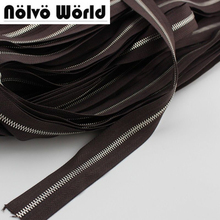 5# two way MORE Higher quality Polished copper teeth zipper,Customize color zippers for DIY leather bags,clothing pants making