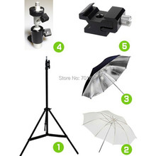 5in1 Studio Kit Light Stand Tripod + C II Swivel Flash Bracket + 33 Translucent Soft and Reflective Umbrella + Cold Shoe Adapter