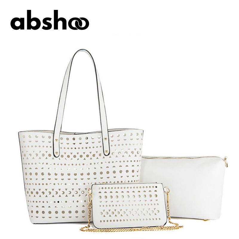 2016 Fashion Hollow Tote For Women 3 Set Bags Female Shoulder Clutch Purse White Leather Messenger Beach Bags<br>