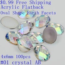 100pcs 4x6mm Colorful Acrylic Rhinestones Flatback Oval Shape Earth Facets AB Colors Glue On Resin Beads DIY Nail Art Decoration