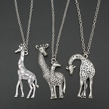 "2017 New Hot Sell DIY Women Jewelry Vintage Silver Mother's Love Giraffe Pendant Necklace 26"" For Wholesale Free Shipping ED4436"