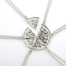 6 pcs/set Pizza Cake Pendant Necklace Set Personalized Best Friend Frindship Necklace Women Men Silver Friendship Jewelry Gifts