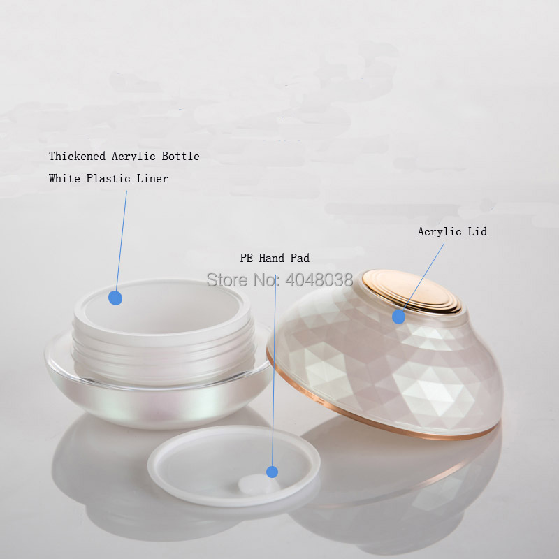 30G 50G Refillable Cosmetic Container Thickened Acrylic Facial Cream Jar with Hand Pad Pink Bowl Shape Top Grade Eye Cream Jar (3)