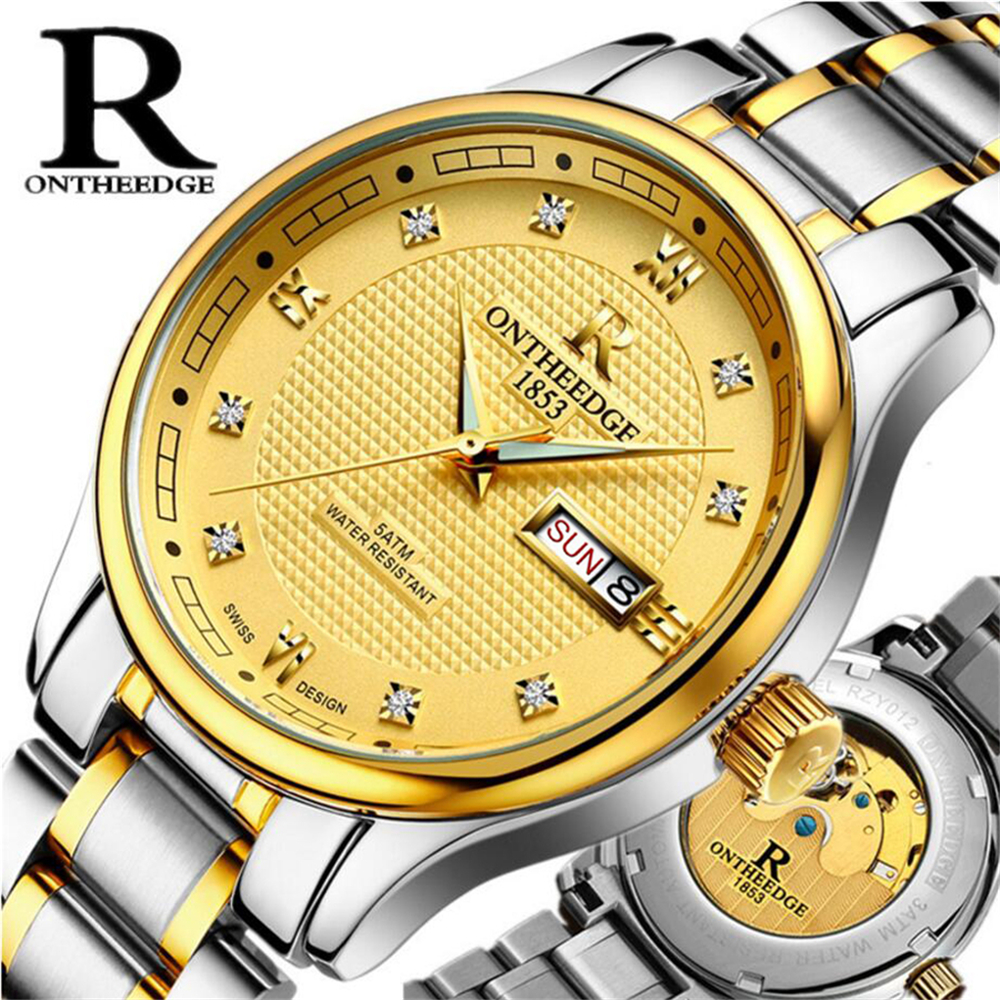 Mens Watches Top Brand Luxury Mechanical Watch Mens Gold Calendar Automatic Watch Men Stainless Steel Waterproof Relogio<br>