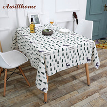 Awillhome 11Size Home Tablecloths Square Christmas Tablecloths Linen Dining Table Cloths Crochet Table Covers Navidad Mantel(China)