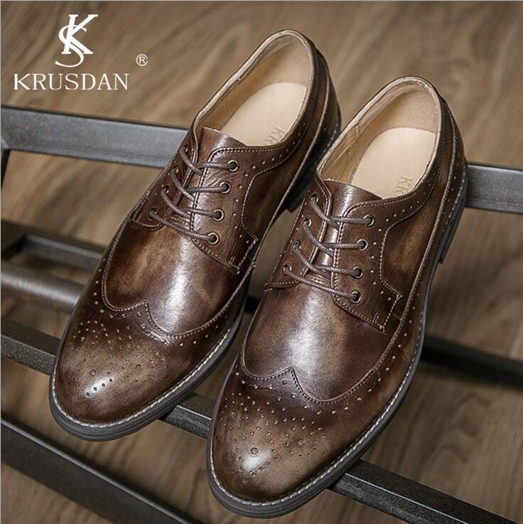 [KRUSDAN] Brand Design Luxury Mens Dress Shoes Genuine Leather Round Toe Retro British Bullock Style Shoes Men Flats For Office<br><br>Aliexpress