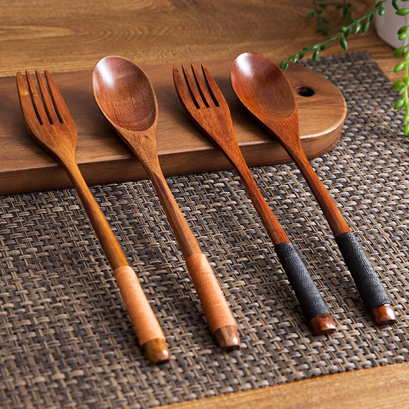 Set of 2 Wooden Spoon Fork Set Long Handle Japanese Style Wood Soup Spoon Dinner Salad Fork Kids Outdoor Cutlery Kitchen Utensils (1)