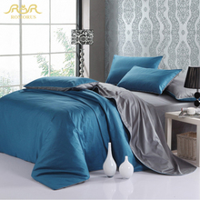 ROMORUS 100% Healthy Cotton Full/ Queen/ King Size Solid Pure Color Designer Bedding Set Modern Simple Duvet Cover Sets 4 pcs