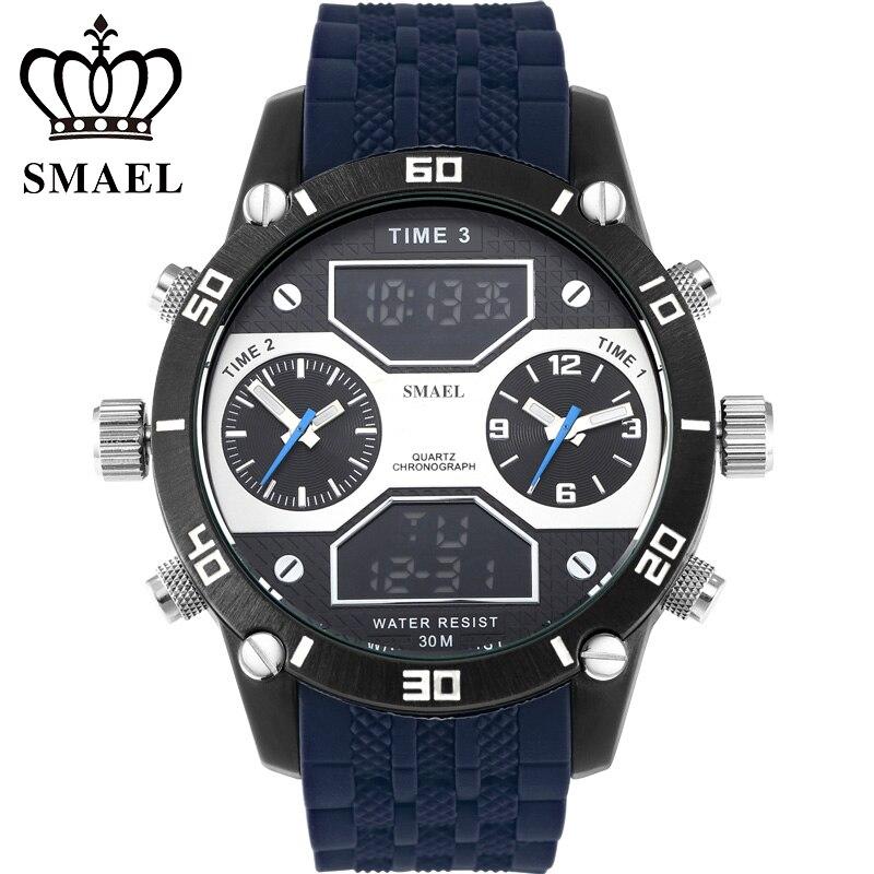 Big Dial Casual Watches Alloy Quartz-watch Three Time Display Analog Digital Mens Wrist Watch Sports Waterproof relogio WS1159<br><br>Aliexpress