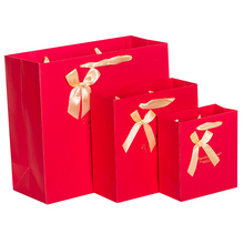 5PCS Red Gift paper bag packaging shopping bag wedding birthday gift bag Flower Blue Ribbon bow 14*15*7cm 20*20*8cm 30*27*12cm(China)