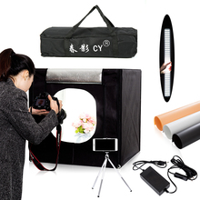 CY 60*60cm LED Photo Studio light tent Softbox Shooting Light Tent Soft Box + Portable Bag + AC Adapter for Jewelry Toys Shoting(China)