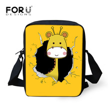 FORUDESIGNS Small Cross-body Bag for Women Cute Animal Giraffe Tiger Pattern Female Messenger Bags Luxury Brand Yellow Handbags(China)