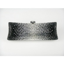 7757Cb Black Crystal in Gradual change effect Bridal Party Night Metal Evening purse clutch bag case box handbag