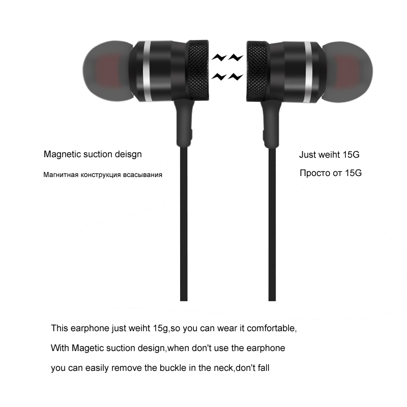 Newrixing LY-11 Bluetooth Wireless Headphone Sport Running Stereo Magnet Earbuds With Microphone Earphone Headset For iPhone