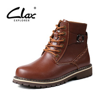 CLAX Men Work Boots Genuine Leather 2017 Winter Leather Shoe High Top Male Warm Snow Boot Fashion Casual Footwear Big Size(China)