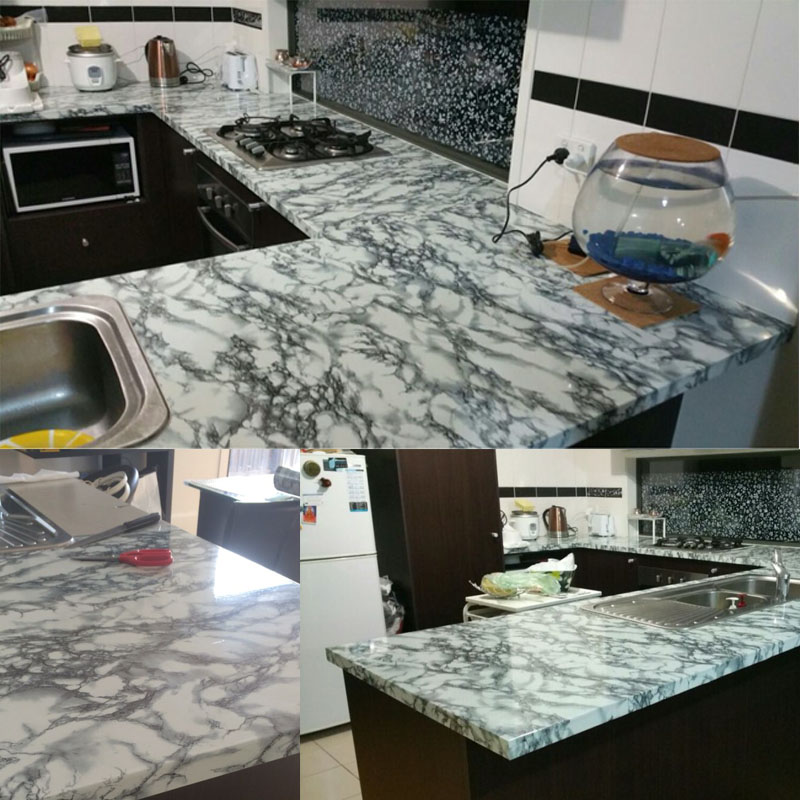 4FTX33FT/ 1.24M X 10M Marble Waterproof Vinyl Self adhesive Wallpaper Sticker Modern Contact Paper for Kitchen Cupboard<br><br>Aliexpress